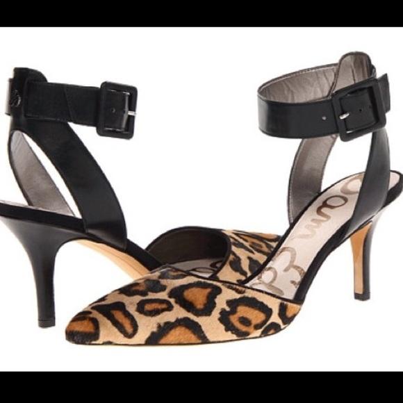 a8d290a65 Sam Edelman Okala Leopard Calf Fur Heels. M 5acce33905f430a3f6d882cf